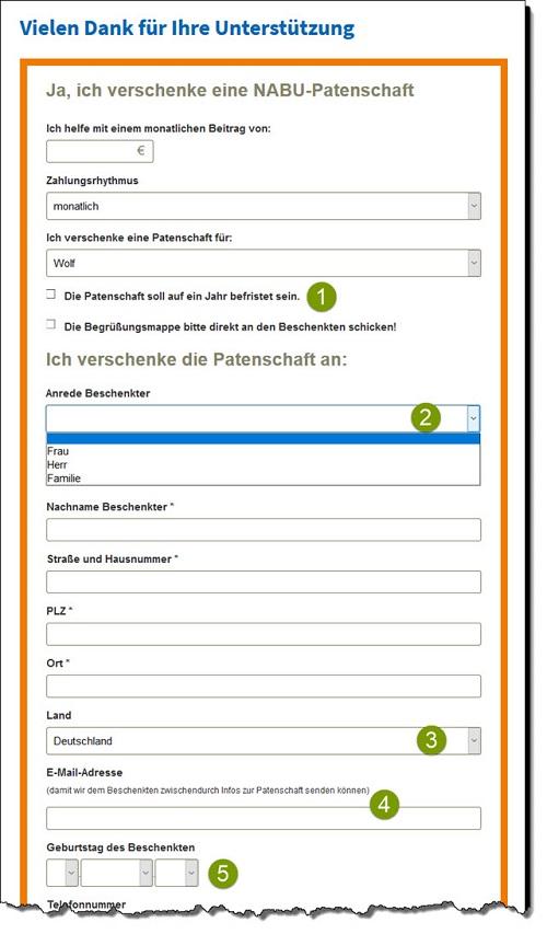 Individuelle Abfragen im NABU-Patenschaftsformular