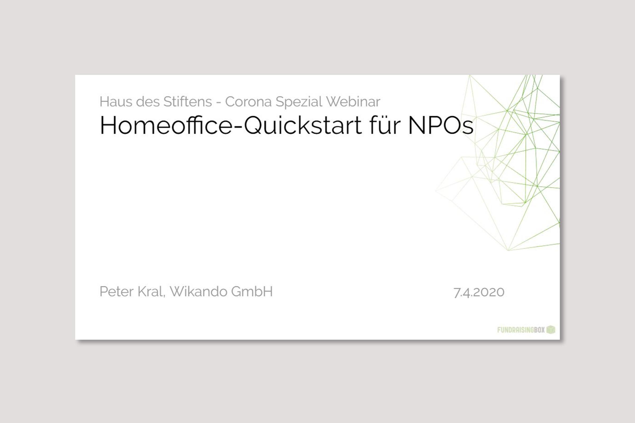 Webinar Homeoffice-Quickstart für NPOs