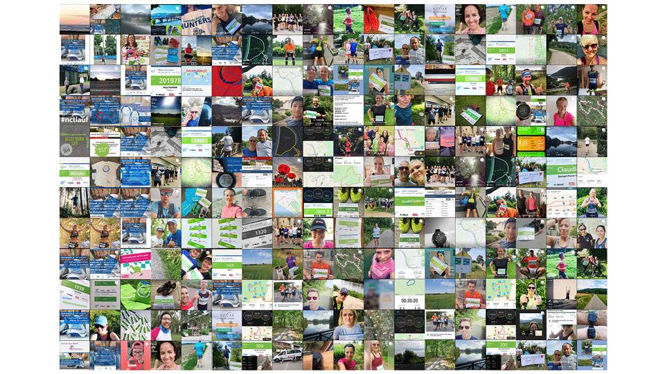 Eine Collage von Beiträgen von Teilnehmern des NCT Laufes