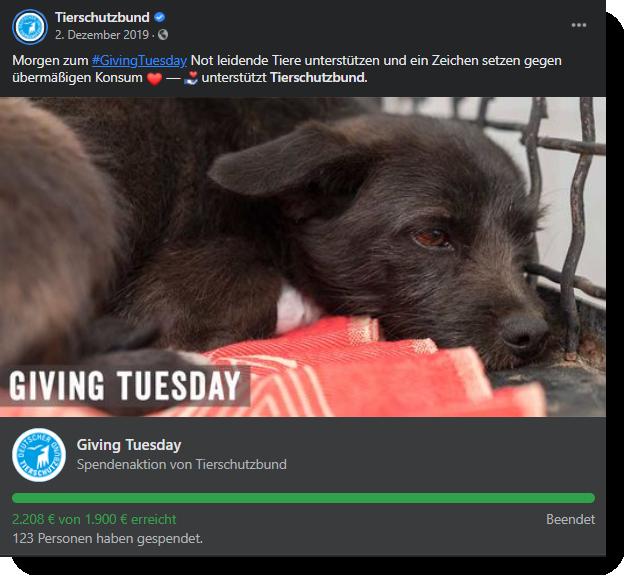 Facebook Posting des Tierschutzbundes mit einem Spendenbarometer