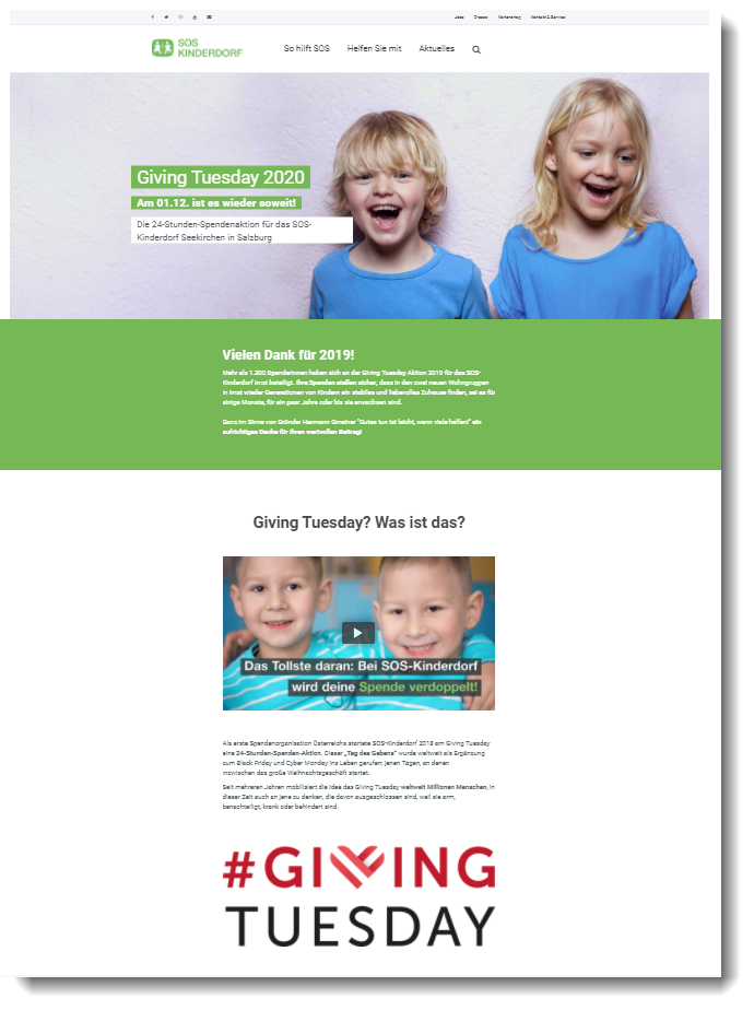 Screenshot der Giving Tuesday Kampagnen Website von SOS Kinderdorf