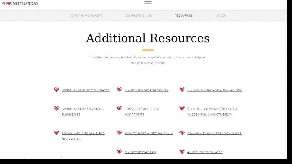 Screenshot kostenlose Downloads auf der Giving Tuesday Website