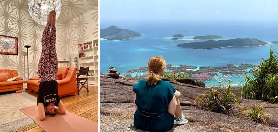 Johanna Köver beim Yoga und auf den Seychellen