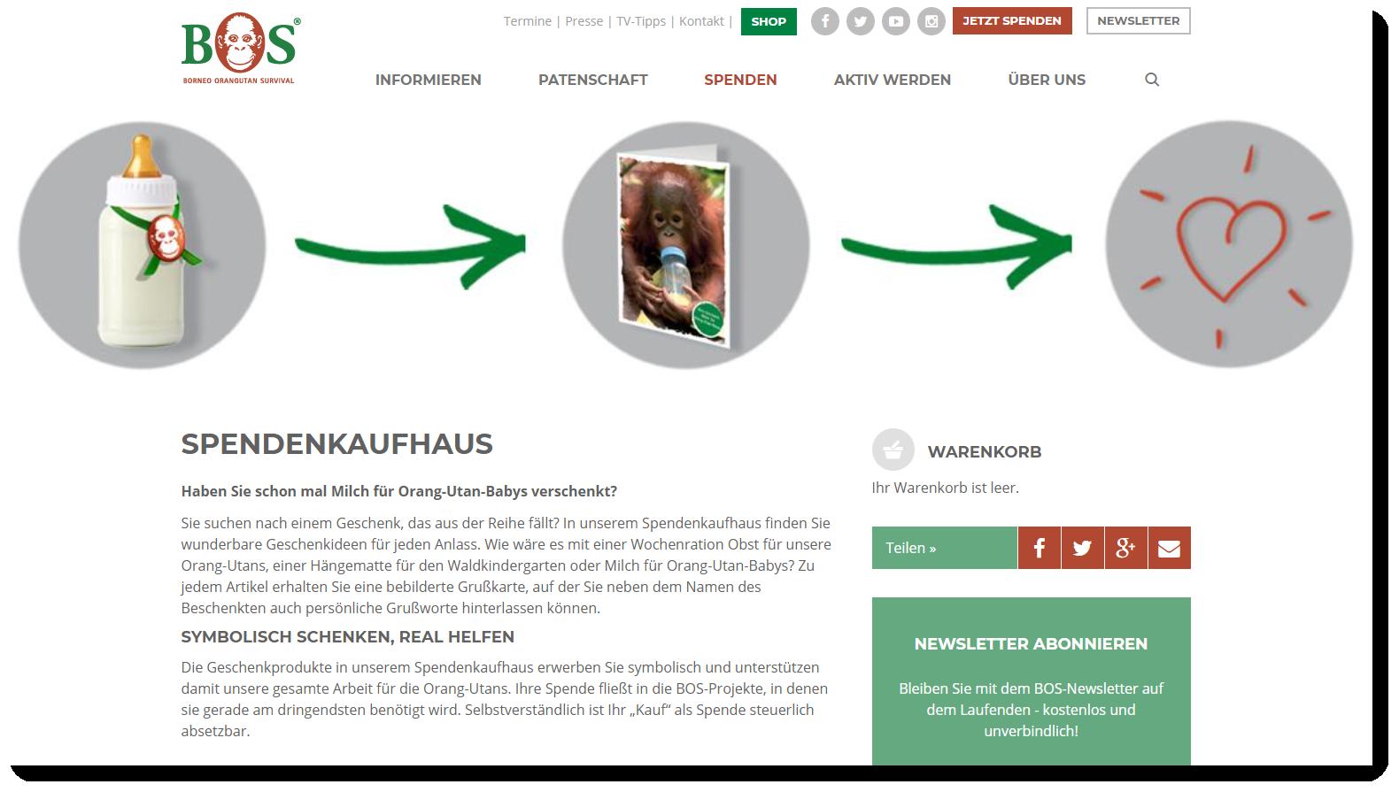 Screenshot des Spendenshops von Borneo Orangutan Survival