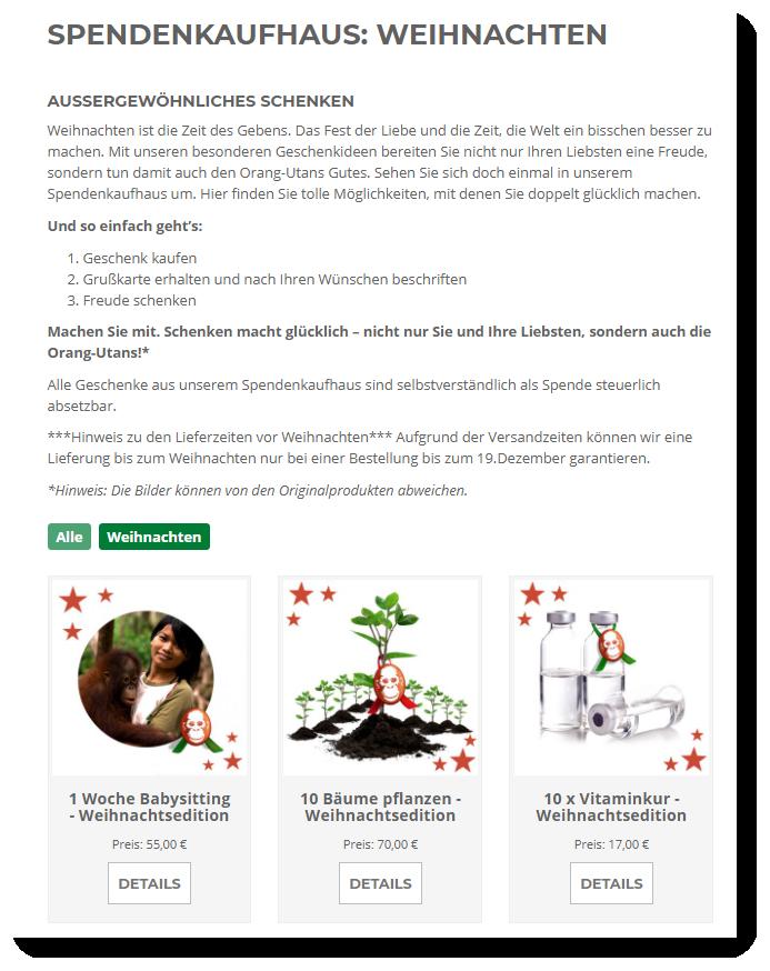 Screenshot Borneo Orangutan Survival Spendenshop Weihnachtsedition