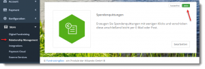 Screenshot FundraisingBox Store Spendenquittung aktivieren