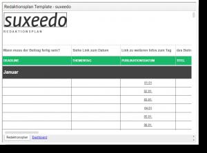 Screenshot des Redaktionsplans von Succeedo