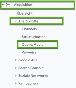 Screenshot Google Analytics Klickweg zum Tracking von Links mit URL-Parametern