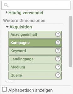 Google Analytics Weitere Dimensionen Screenshot