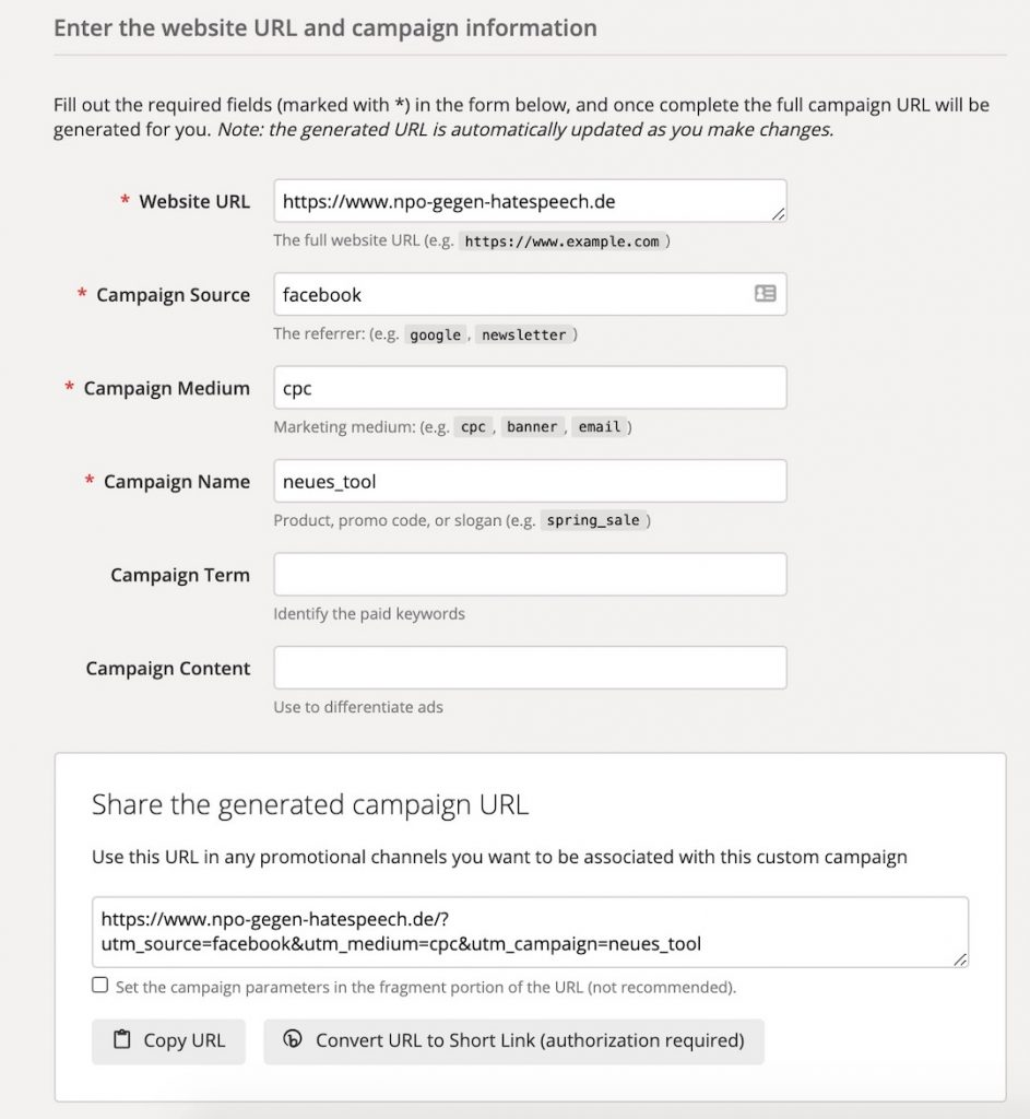 Screenshot UTM Paramater erstellen in URL Campaign Builder