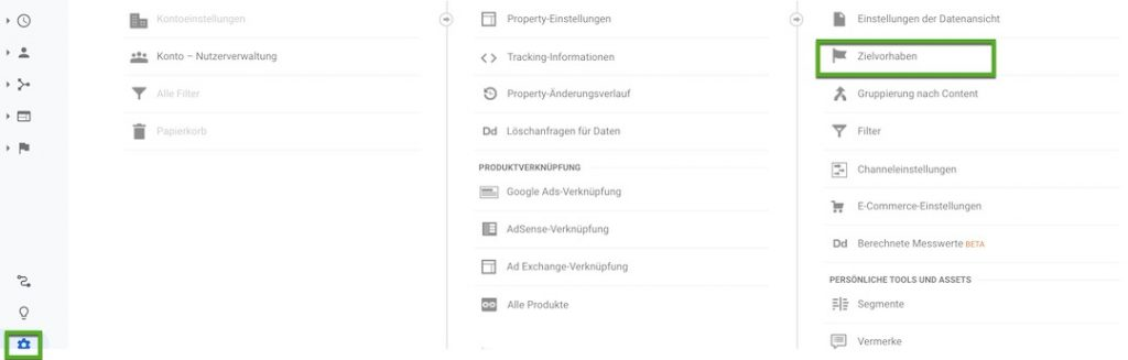 Screenshot Google Analytics Zielvorhaben