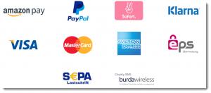 Logos der gängigsten E-Payment Methoden