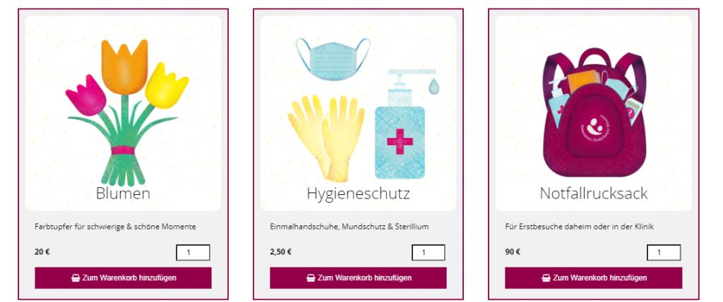 Beispiele für Spendenobjekte in einem Spendenshop