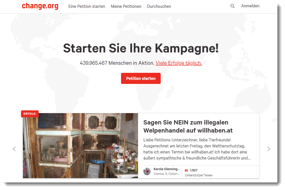 Screenshot der Website von Change.org