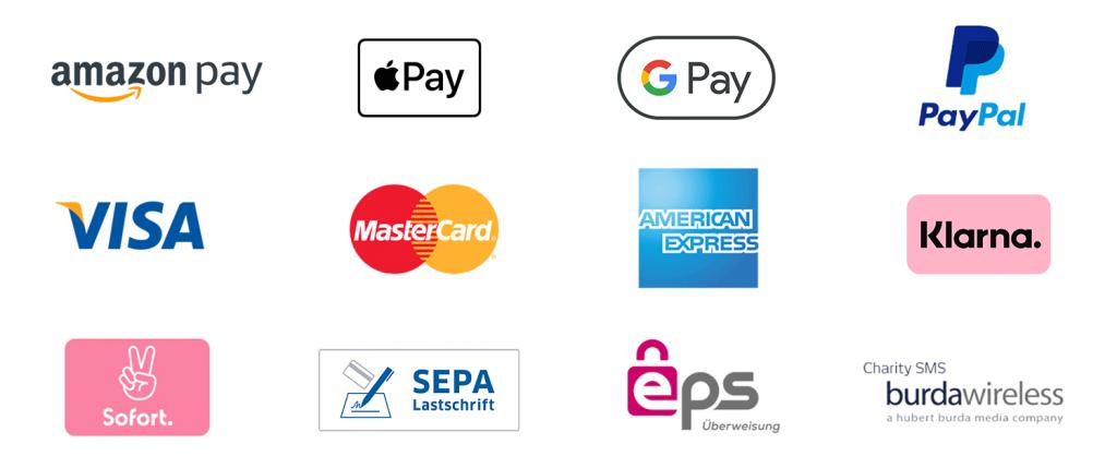 Logos der Zahlungsarten in der FundraisingBox