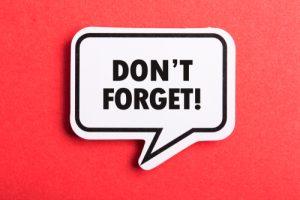 """Sprechblase mit Text """"Dont forget!"""" auf rotem Hintergrund"""